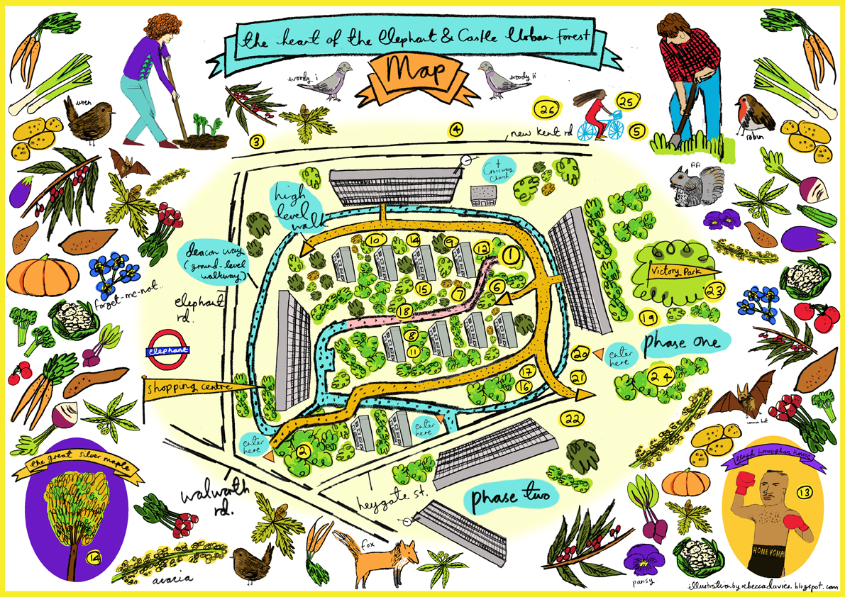 Elephant and Castle Urban Forest Rebecca Davies Map